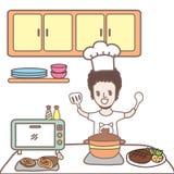 Cartoon man cooking Royalty Free Stock Photo