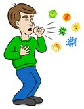 Cartoon man coughing and surrounded by viruses Royalty Free Stock Photos