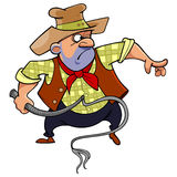 Cartoon man in a cowboy hat brandishing a whip Royalty Free Stock Image
