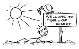 Cartoon of Man Crawling in the Desert Found a Sign. Cartoon vector doodle stickman crawling thirsty in middle of desert meet sign Stock Photography