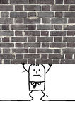 Cartoon man crushed and standing under a wall Stock Images