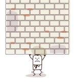 Cartoon man crushed under a heavy wall Royalty Free Stock Photo