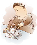 Cartoon man with cup of coffee. Illustration of engraved style cartoon man with hot cup of coffee Stock Photography