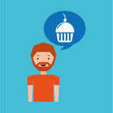 cartoon man cupcake cherry dessert design icon Stock Images