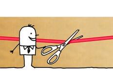 Cartoon man cutting a red ribbon with scissors. Illustration Stock Photos