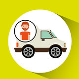 Cartoon man delivery truck icon graphic Royalty Free Stock Photography