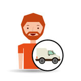 Cartoon man delivery truck icon graphic Stock Photo