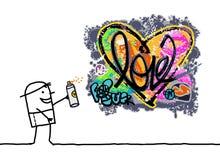 Cartoon Man Designing a Graffiti Heart. Vector Cartoon Man Designing a Graffiti Heart Stock Photography