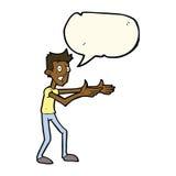 Cartoon man desperately explaining with speech bubble Royalty Free Stock Photos