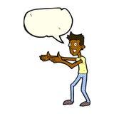 Cartoon man desperately explaining with speech bubble Royalty Free Stock Images