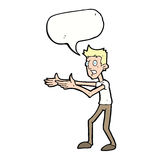 Cartoon man desperately explaining with speech bubble Stock Photos