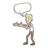 Cartoon man desperately explaining with speech bubble Royalty Free Stock Photography