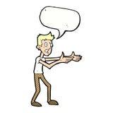 Cartoon man desperately explaining with speech bubble Stock Photo
