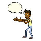 Cartoon man desperately explaining with thought bubble Stock Image