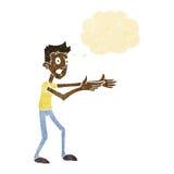 Cartoon man desperately explaining with thought bubble Royalty Free Stock Photo