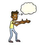 Cartoon man desperately explaining with thought bubble Royalty Free Stock Image