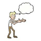 Cartoon man desperately explaining with thought bubble Stock Images
