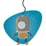 Cartoon man in diving suit Stock Photos