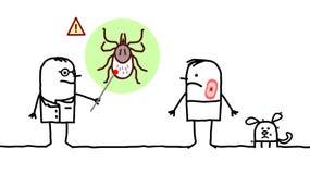 Cartoon man and doctor, ticks and Lyme disease