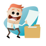 Cartoon man with document and folder Royalty Free Stock Photos