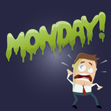 Cartoon man doesn't like monday Stock Photography
