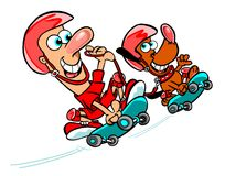 Cartoon man and dog on skateboards. Cartoon caricature of man and dog riding skateboards Stock Photography