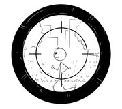 Cartoon of Man Doing Jog Being Targeted by Sniper Scope. Cartoon stick man drawing conceptual illustration of jogging or running man being targeted by scope of Royalty Free Stock Images