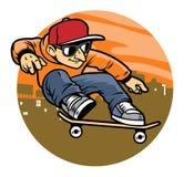 Cartoon man doing skateboard jump trick Royalty Free Stock Photo