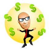 Cartoon Man With Dollar Signs. An illustration featuring a cartoonish man juggling finances Royalty Free Stock Photos