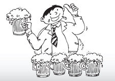Cartoon man drinking beer Stock Images