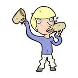 Cartoon man drinking beer Stock Images
