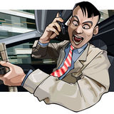 Cartoon man driving aggressively yells into the phone Royalty Free Stock Photos