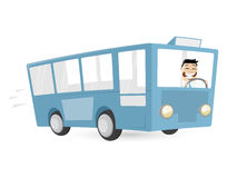 Cartoon man is driving a bus Stock Image