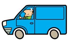 Cartoon man driving a truck. Cartoon illustration of a man driving a blue truck Stock Photography