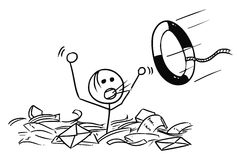 Cartoon of Man Drowning in the Paper Work. Cartoon vector doodle stickman man drowning in the office paper and life buoy thrown in paper Royalty Free Stock Images
