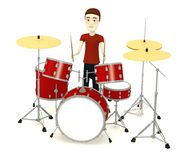 Cartoon man with drumset Royalty Free Stock Photo
