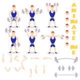 Cartoon man dumbbells exercises squat, deadlift, overhead press. Royalty Free Stock Photo