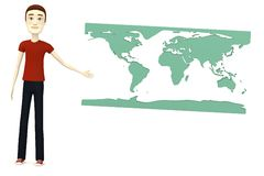 Cartoon man with earth map Royalty Free Stock Photo