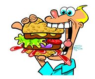 Cartoon man eating double deck hamburger. Cartoon caricature of man with wide open mouth eating messy double deck hamburger sandwich Royalty Free Stock Photography