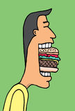 Cartoon man eating huge hamburger Stock Images