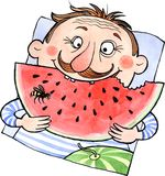 Cartoon man eating watermelon vector illustration