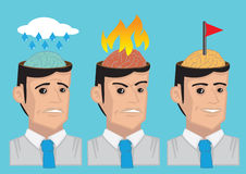 Cartoon Man Emotional States Vector Illustration. Vector cartoon illustration showing the brain of modern man in different emotional state, namely sadness, anger Royalty Free Stock Images