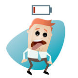 Cartoon man with empty battery. Illustration of a cartoon man with empty battery Royalty Free Stock Photography