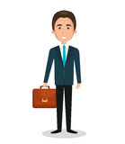 cartoon man executive business briefcase isolated Stock Photography