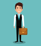 cartoon man executive business briefcase isolated Royalty Free Stock Photography