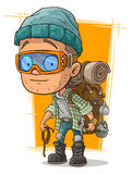Cartoon man in eyeglasses with backpack Stock Photography