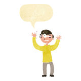 Cartoon man with eyes popping out of head with speech bubble Stock Photography