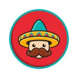 Cartoon man face with sombrero Royalty Free Stock Photography