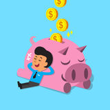 Cartoon man falling asleep with pink piggy Royalty Free Stock Images