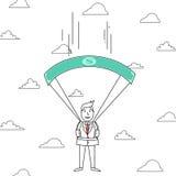 Cartoon man falling through clouds with dollar bill parachute Stock Photo